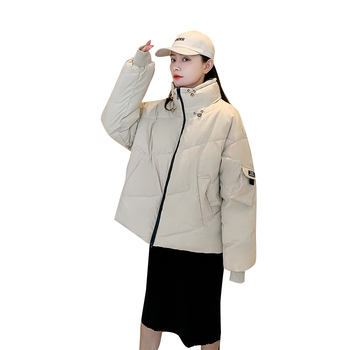 2020 New Autumn Winter Jacket Stand collar Women Coat Loose Cotton-padded Short Jackets Female Parka Warm Casual Overcoat fashion winter snow cotton jacket women casual reflective thick warm short parker coat street loose hip hop stand collar jacket
