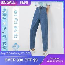 INMAN Minimal Stil Jeans Mit Elastische Band Hose Frauen Blume Welle Stretch Hohe Taille Casual Fit Form Dame Mode Hosen