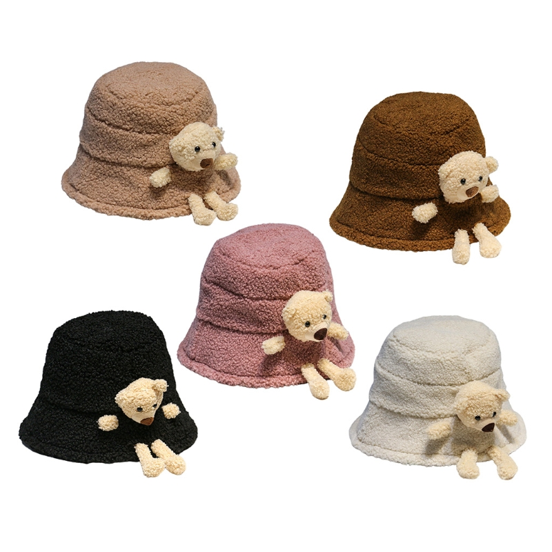 Women Winter Fluffy Plush Warm Bucket Hat Cute 3D Stuffed Teddy Bear Wide Brim Harajuku Outdoor Panama Fisherman Cap