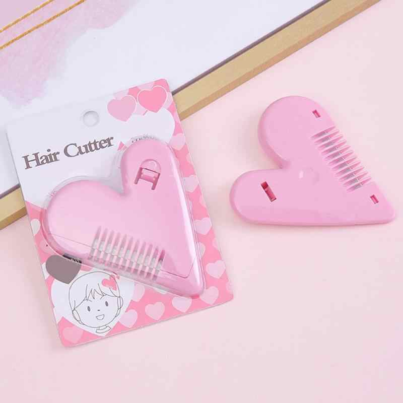Pink Mini Hair Trimmer Love Heart Shape Hair Cutting Comb Body Bikini Hair Removal Pubic Hair Brushes with Blades Trimming Tools