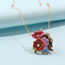 Winter garden series enamel glaze two-color flower crystal copper gilded necklace clavicle chain female new sweet