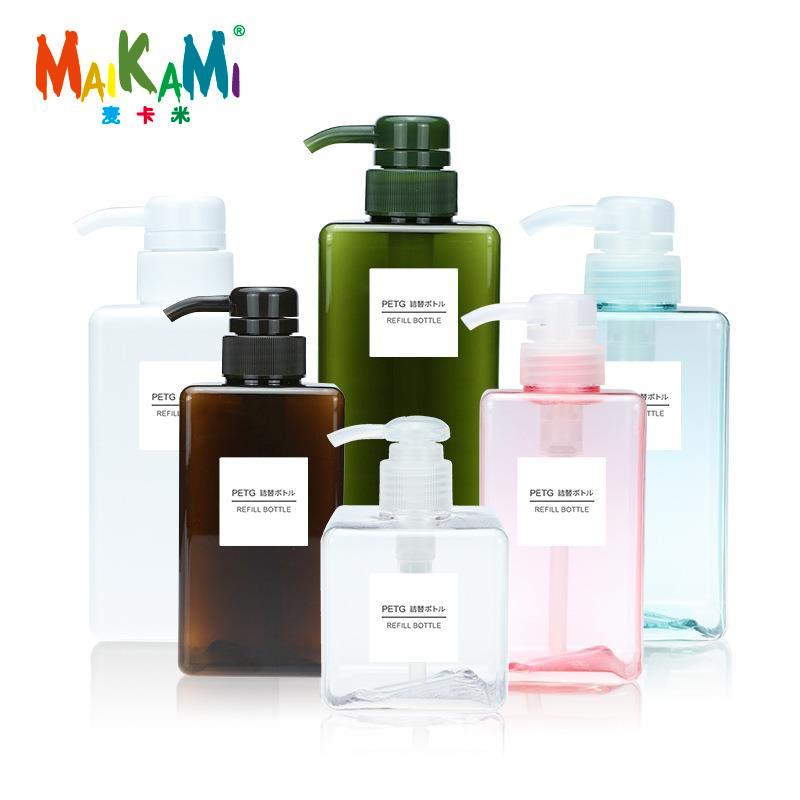 MAIKAMI 100ml 250ml 450ml 650ml Lotion Bottle Square Petg Press Plastic Bottle Shampoo Face Wash Bottle