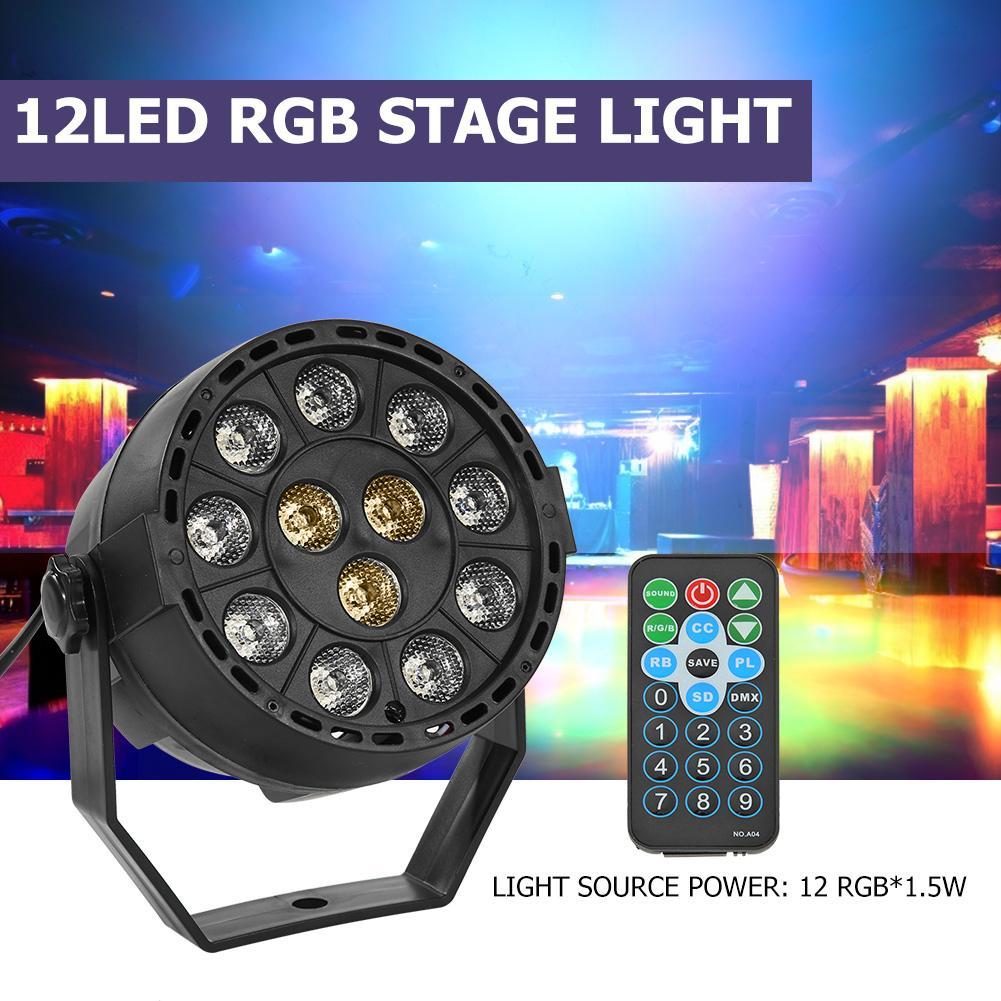 12LED RGB DJ Disco Stage Light KD-USB IP44 Waterproof Wedding KTV Bar Club Par Lamp Projector With Remote Control US/EU