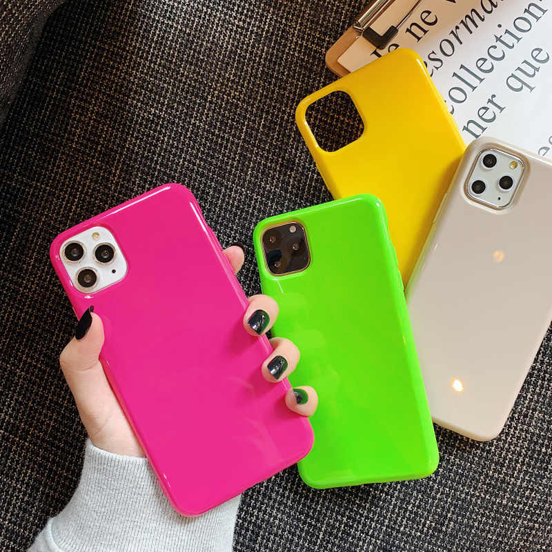 Moda Simple neón fluorescente Color fundas para iphone 7 8 plus 6 6s contraportada para iphone 11 Pro XR X XS Max Soft Case