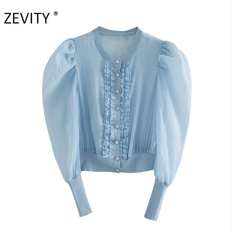 ZEVITY kadın moda şeffaf organze patchwork örme önlük bluz gömlek kadın puf kollu agaric dantel blusas tops LS7170