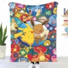 3D-Printeds Blanket Pokemon Bikachu/ Flannel Blanket Bed Throw Soft Cartoon Printed Bedspread Bedspread Sofa Gifts for Children