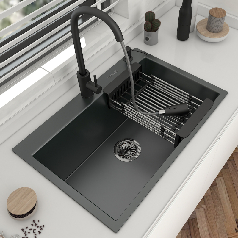 304 de aço inoxidável pia de cozinha topmount ou gota em bacia de lavagem de cinza escuro única tigela para cozinha com acessórios de drenagem