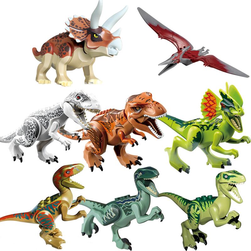 Animals Jurassic Dinosaur World Triceratops Velociraptor Rex Assembles Figure Building Blocks Bricks Toys For Children