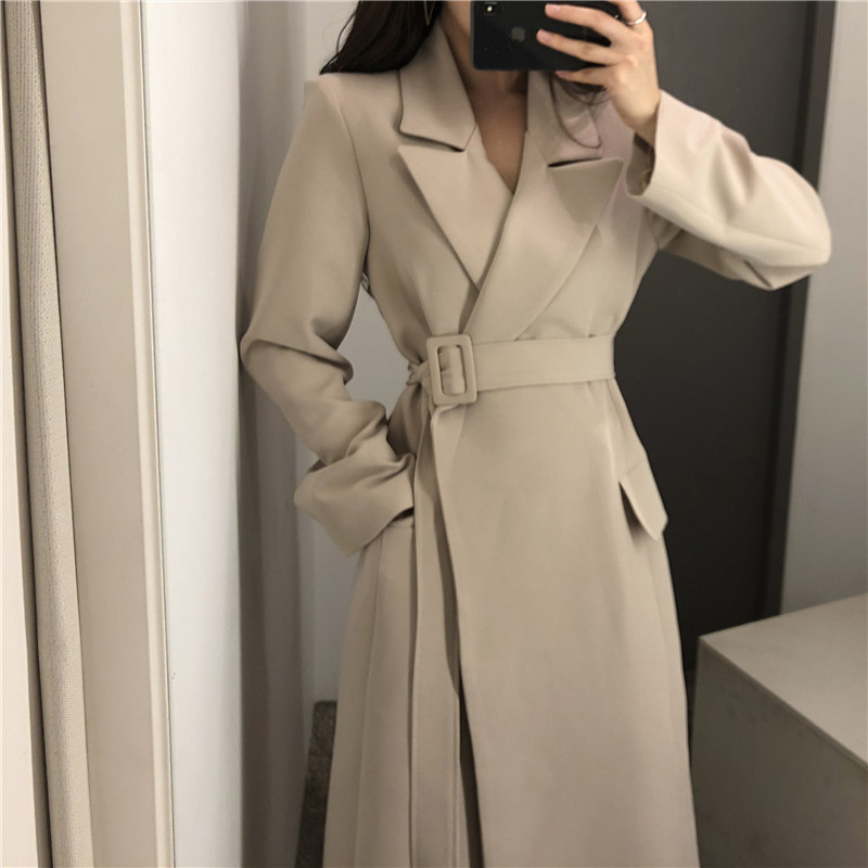 Chic Belt Sash Pocket Women Trench Coat Spring Autumn Turn Down Neck Long Sleeve Office Lady Trench Coat Outwear