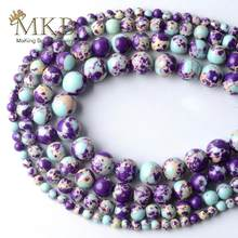 Roxo lago azul sedimento jaspers pedra redonda contas para fazer jóias 4/6/8/10mm espaçador solta contas diy pulseira jóias 15