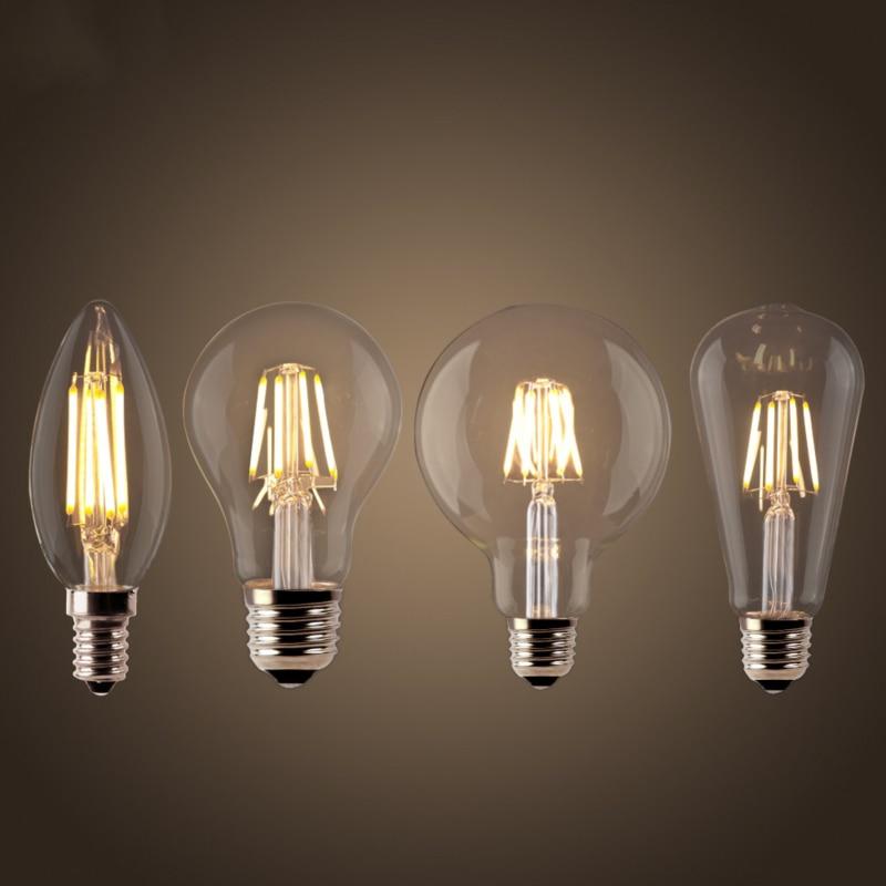LED filament ampul E27 Retro Edison lamba 220V E14 Vintage C35 mum ışığı kısılabilir G95 küre ampul kısılabilir aydınlatma ev dekor