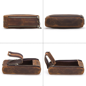 Image 3 - Genuine Leather Zipper Pen Pencil Case Bag Handmade Vintage Retro Creative Standable School Stationary Pen Pouch Large Capacity