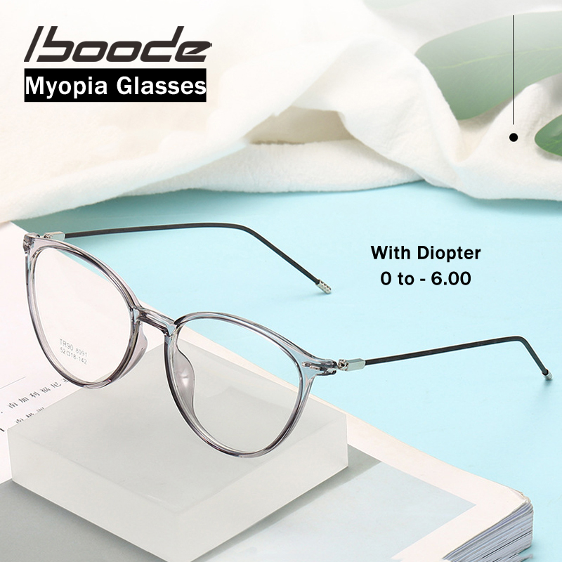 Iboode Ultralight TR90 Finished Myopia Glasses Men Women Anti Blue Blocking Optical Myopic Glasses With Diopter 0 -0.5 To -6.0