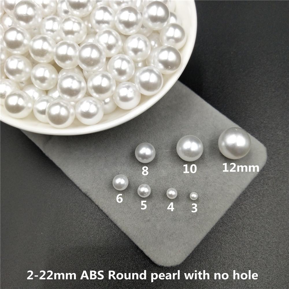 10PCS 14MM white With hole Round pearl loose acrylic charms beads jewelry making