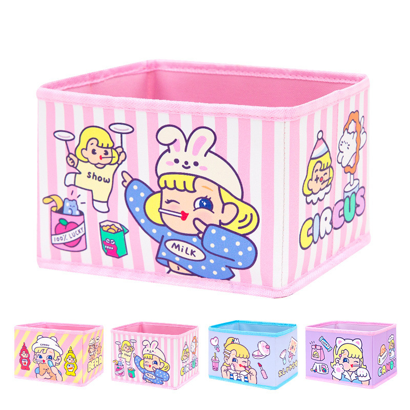 Bentoy Cartoon Large Capacity Cosmetic Bag Box Student Desktop Storage Box Girl Container Box
