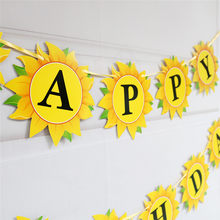 birthday decor sun flower happy birthday banner sunflower card ribbon glitter banner baby shower family party decor supplies(China)