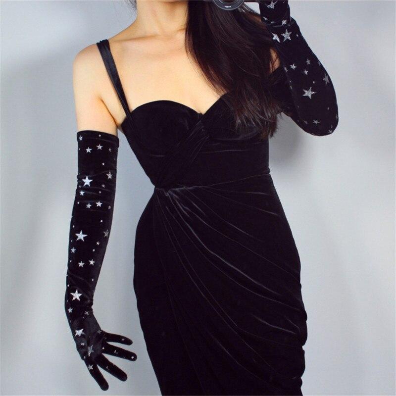 Gold Velvet Long Gloves 60cm Long Section Black Super Shiny Silver Stars Female Elastic Swan Velour Women's Evening Gloves WSR27