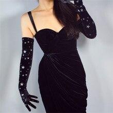 Long-Gloves Velvet Shiny Female Gold Black Women's Super Velour 60cm WSR27 Swan Silver-Stars