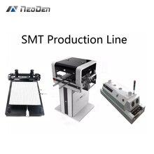 SMT производственная линия NeoDen с автоматическим рельсы+ FP2636 припоя принтер+ T5 нагревательная печь+ электронные фидеры