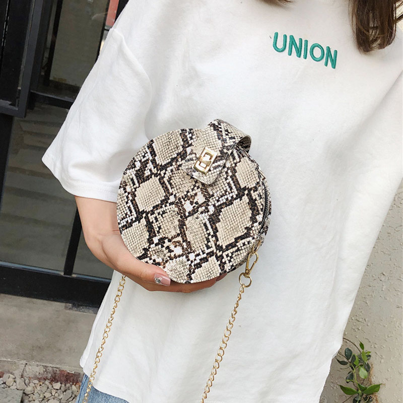 2019 Women Girls All-match Imitation Snakeskin Print Small Round Bag Elegant New Style Fashion Design Shoulder Cross Body Bag