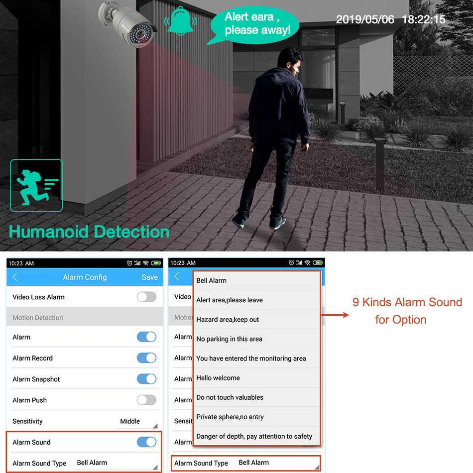 H.265 8CH 1080P POE Система видеонаблюдения NVR комплект двухстороннее аудио 2MP инфракрасный наружный водонепроницаемый AI IP камера P2P видео набор для наблюдения