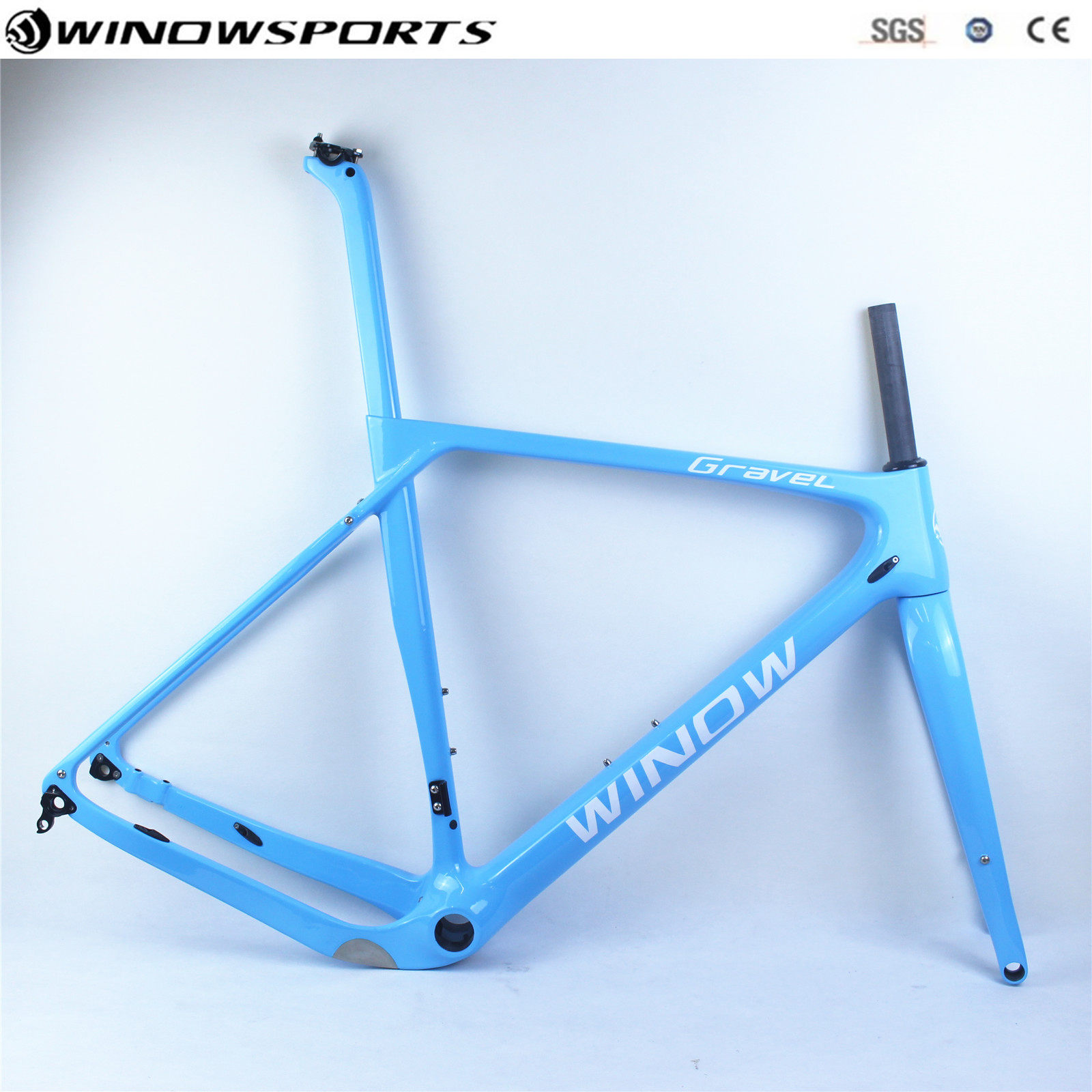 Full Carbon Gravel Bicycle Racing Frame Disc Brakes Thru Axle 142*12mm Cyclocross Carbon Gravel Frameset Size S/M/L/XL Available