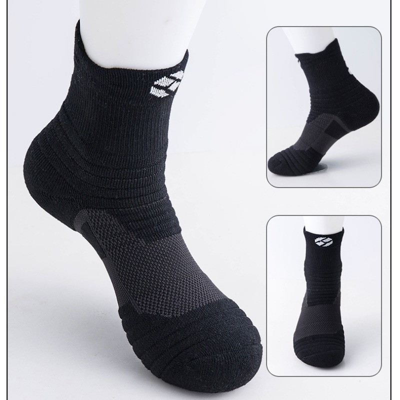 Running Socks Sports Basketball Football Men Women Socks Anti Slip Breathable Moisture Wicking Thick Black Seamless