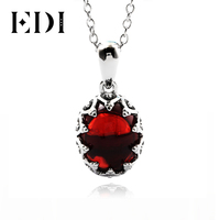EDI Gothic Solitaire Necklace 925 Sterling Silver Pendant Necklace For Women Red Oval Simulated Garnet Gemstone Mom Wife Jewelry