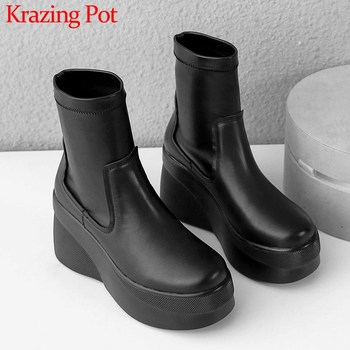 Krazing Pot leisure style thick bottom waterproof cow leather stretch boots round toe solid winter women campus ankle boots L21
