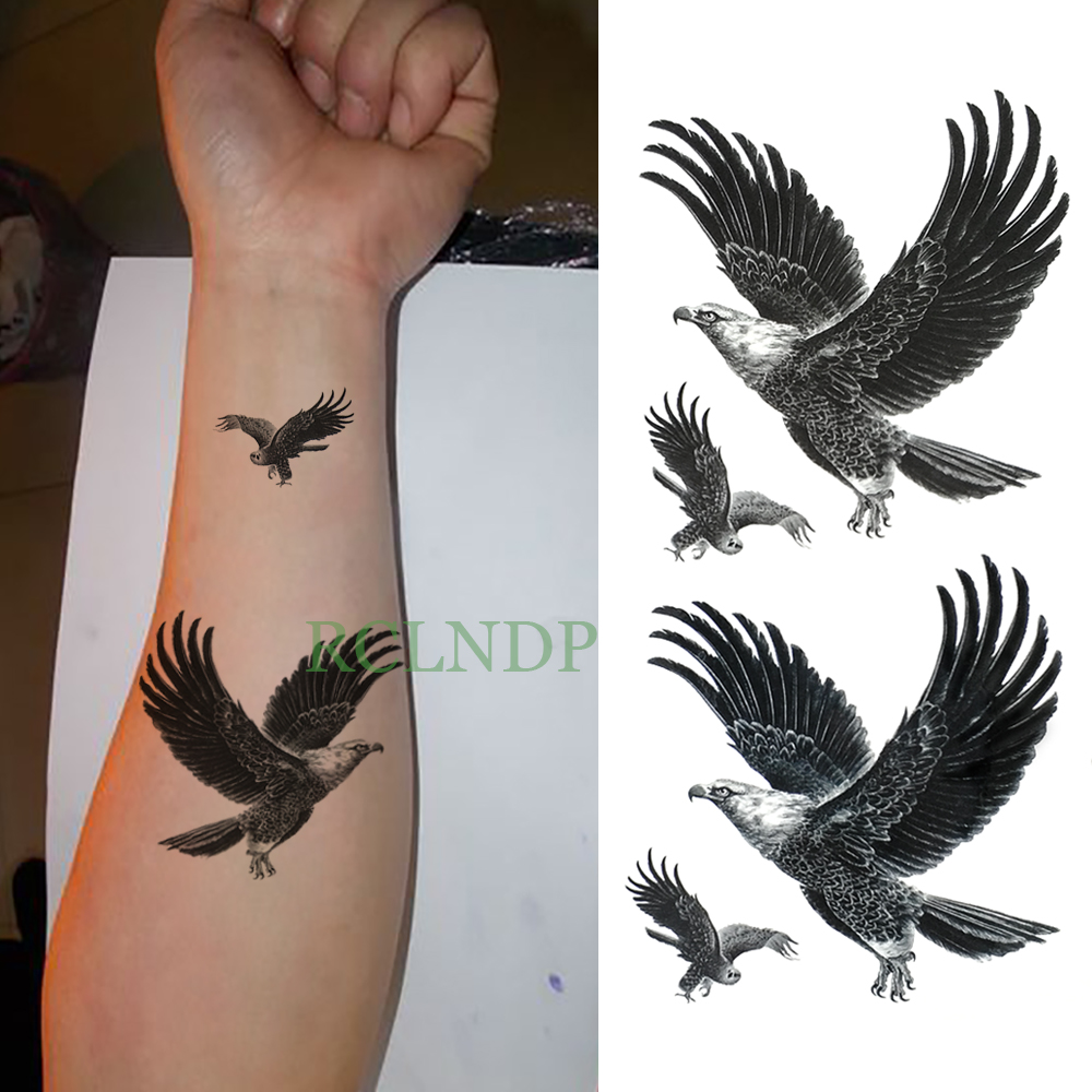 Waterproof Temporary Tattoo Sticker Eagle Hawk Bird Fake Tatto Flash Tatoo Leg Arm Hand Foot Tatouage For Men Girl Women Lady