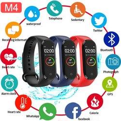 Banda inteligente Fitness Trcker M4 pulsera deportiva podómetro Frecuencia Cardíaca presión arterial Bluetooth salud banda inteligente Smartband impermeable