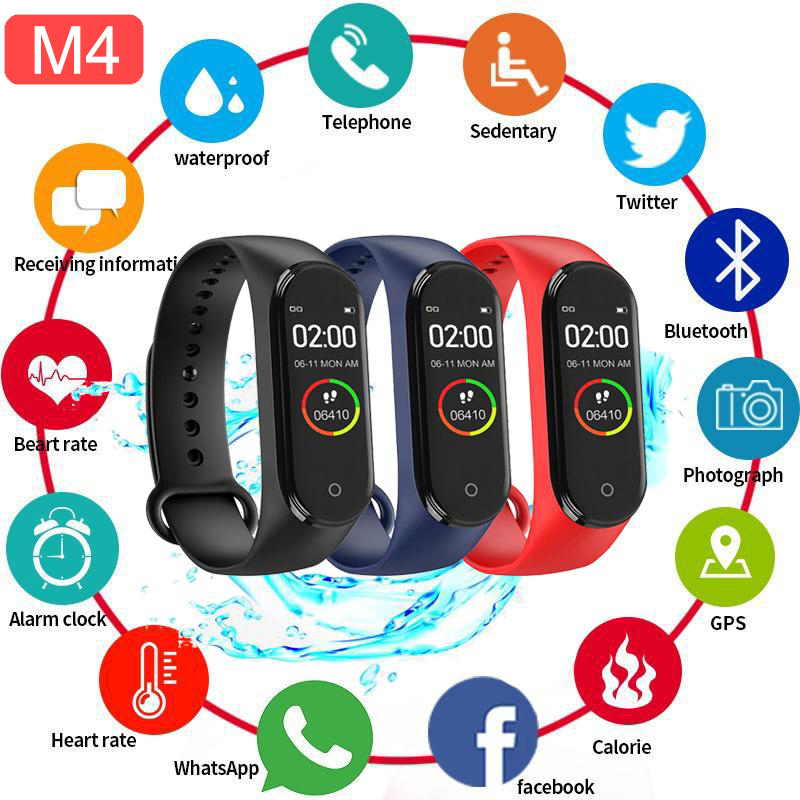 Smart Band Fitness Trcker M4 Sport Bracelet Pedometer Heart Rate Blood Pressure Bluetooth Health Wirstband Waterproof Smartband