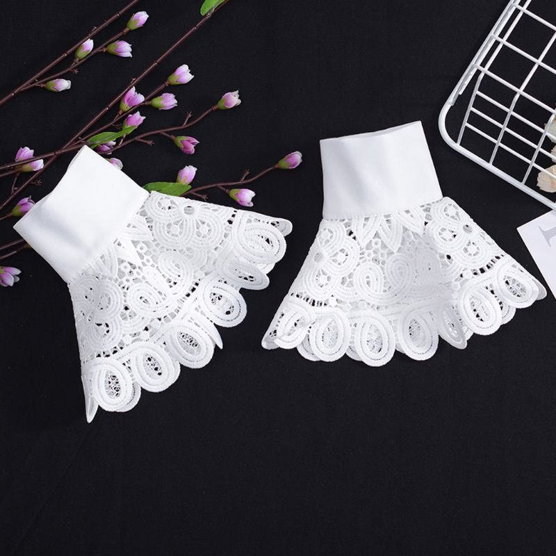 Korean Vintage Detachable Flare Sleeve Fake Cuffs Hollow Out Embroidery Floral Lace Lolita Knitted Sweater Decorative