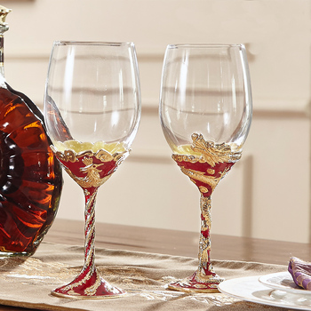 Fine crystal glass wine couples goblet Beautiful chinese golden dragon and phoenix wine glass wedding gift