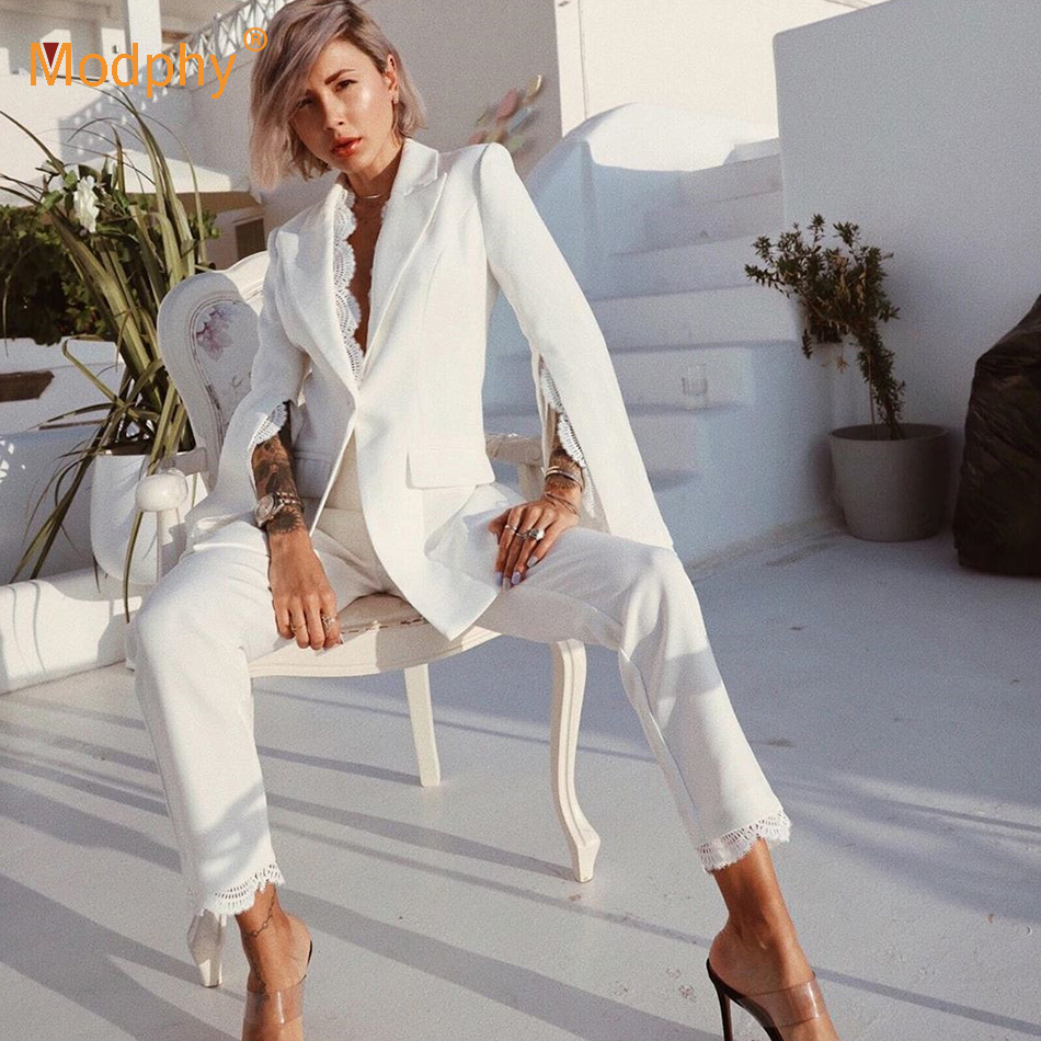 2020 New Women'S White Suit Two-Piece Sexy Lapel Split Long-Sleeved Single-Button Lace Pocket Jacket And Cropped Pants Lace Set