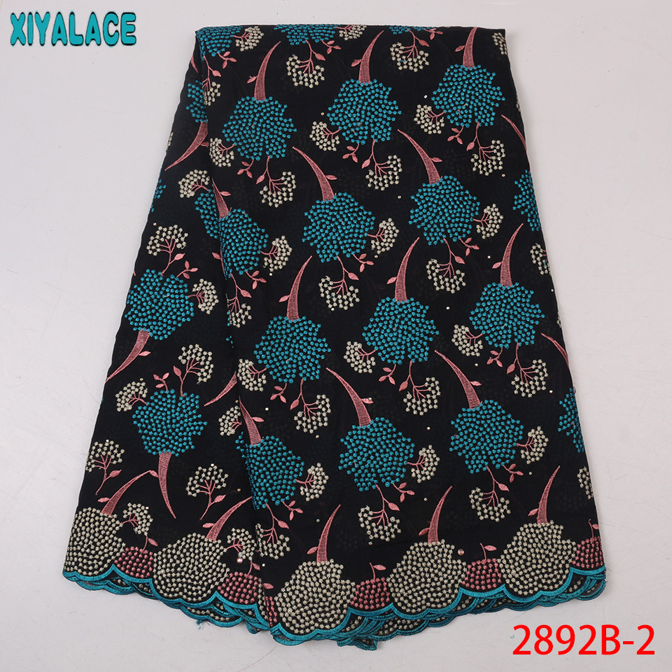 New African Lace Fabric Swiss Voile Lace High Quality Cotton Embroidery Laces With Stones For Women Dresses KS2892B-2
