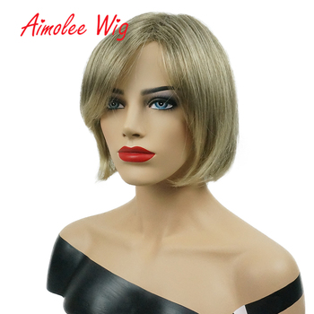 Aimolee Short Straight Ombre Brown Blonde Bob Side Swept Bangs Synthetic Wig for Women Daily Natural Hair цена 2017