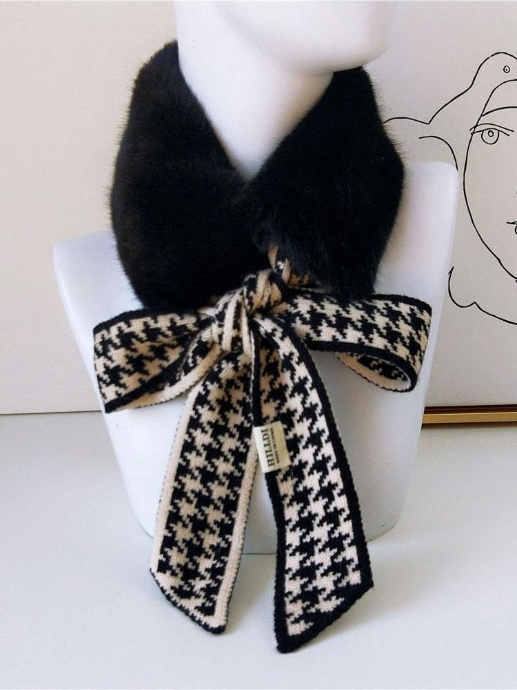 Knitted Scarf Foulard Crochet Neck-Warmer Faux-Fur-Collar Houndstooth Autumn Winter Women