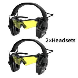 Auriculares tácticos electrónicos de disparo antiruido orejeras gafas profesionales orejeras plegables BK