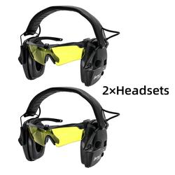 Tactical electronic shooting headphones anti-noise enhanced earmuffs professional glasses glasses earmuffs foldable  BK