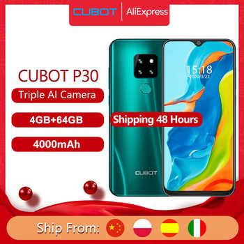 "Cubot P30 Smartphone 6.3 ""su damlası ekran 2340x1080p 4GB + 64GB Android 9.0 pasta Helio p23 AI arka üçlü kameralar yüz kimliği 4000mAh"