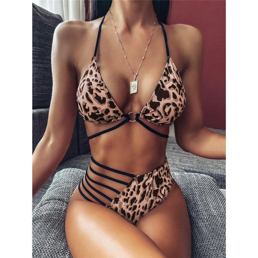 2020 Sexy Neon Yellow Pink Asymmetrical Bikini High Waist Swimsuit Women Swimwear Bikini set Halter Bather Bathing Suit V1810 5