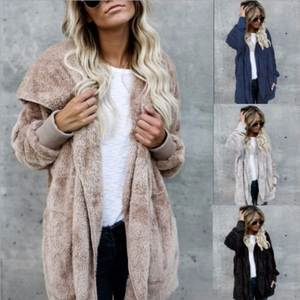 Jacket Women Hooded-Coat Teddy Open-Stitch Faux-Fur Fuzzy Long-Sleeve Female Winter Large-Size
