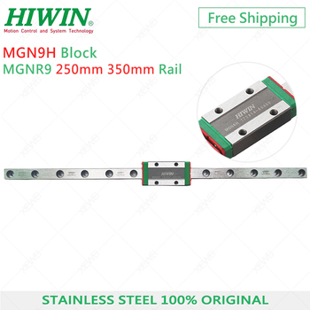 Free Shipping MGN9 HIWIN Stainless Steel 9mm linear rail 250mm 350mm with MGN9H slide block Carriage for 3D Printer original duplicator slide rail fit for riso rv ev rv9 023 17063 or 046 17063 free shipping