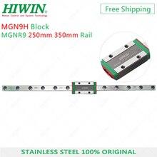 Hiwin trilho inoxidável mgn9, aço inoxidável, 9mm, linear, 250mm, 350mm, com bloco de deslizamento mgn9h, transporte para impressora 3d,