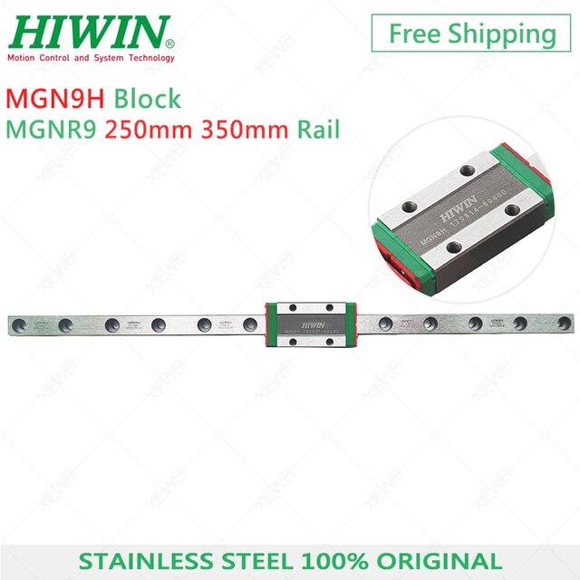 จัดส่งฟรี MGN9 HIWIN สแตนเลส 9mm Linear Rail 250 มม.350 มม.MGN9H สไลด์ Carriage สำหรับ 3D เครื่องพิมพ์