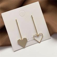 Золотые металлические корейские асимметричные серьги подвески