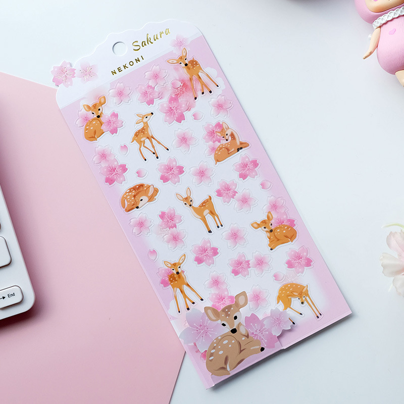 Penguin And Deer Cherry Sakura Nekoni Decorative Stationery Stickers Scrapbooking DIY Diary Album Stick Lable
