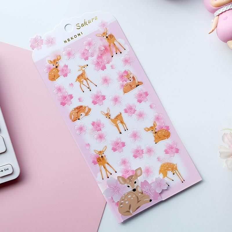 Penguin And Deer Cherry Sakura Nekoni Decorative Stationery Stickers Scrapbooking DIY Diary Album Stick Lable