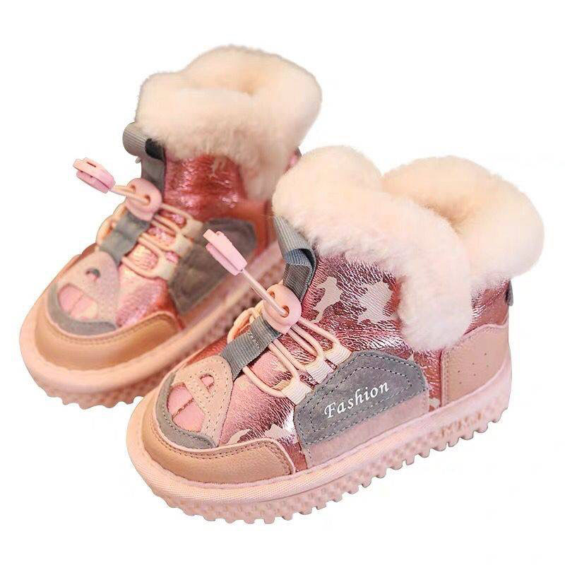 New Girls Mid Tube Warm Shoes Children Cotton Snow Boots Fashion Elastic Band Closure Boys Winter Boots